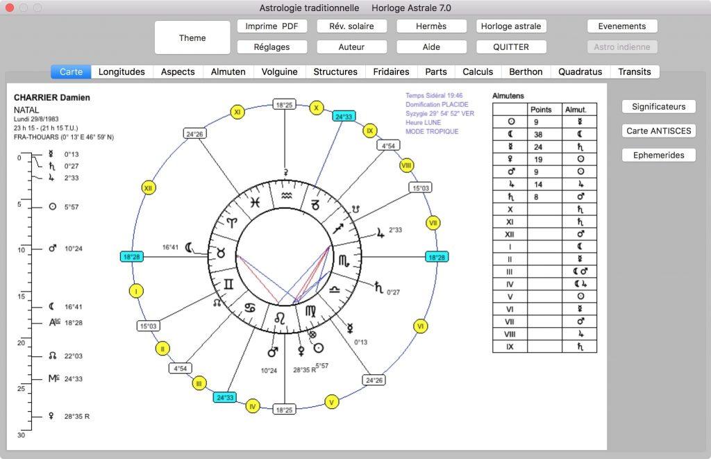 Accueil logiciel horloge astrale pour Mac